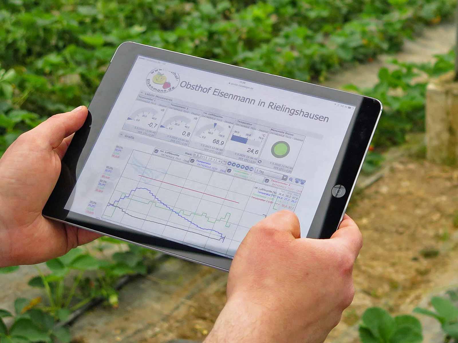 Smart Farming im Gewächshaus des Obsthof Eisenmann – Der Zugriff auf die Messwerte der Sensoren ist weltweit von allen Endgeräten möglich.