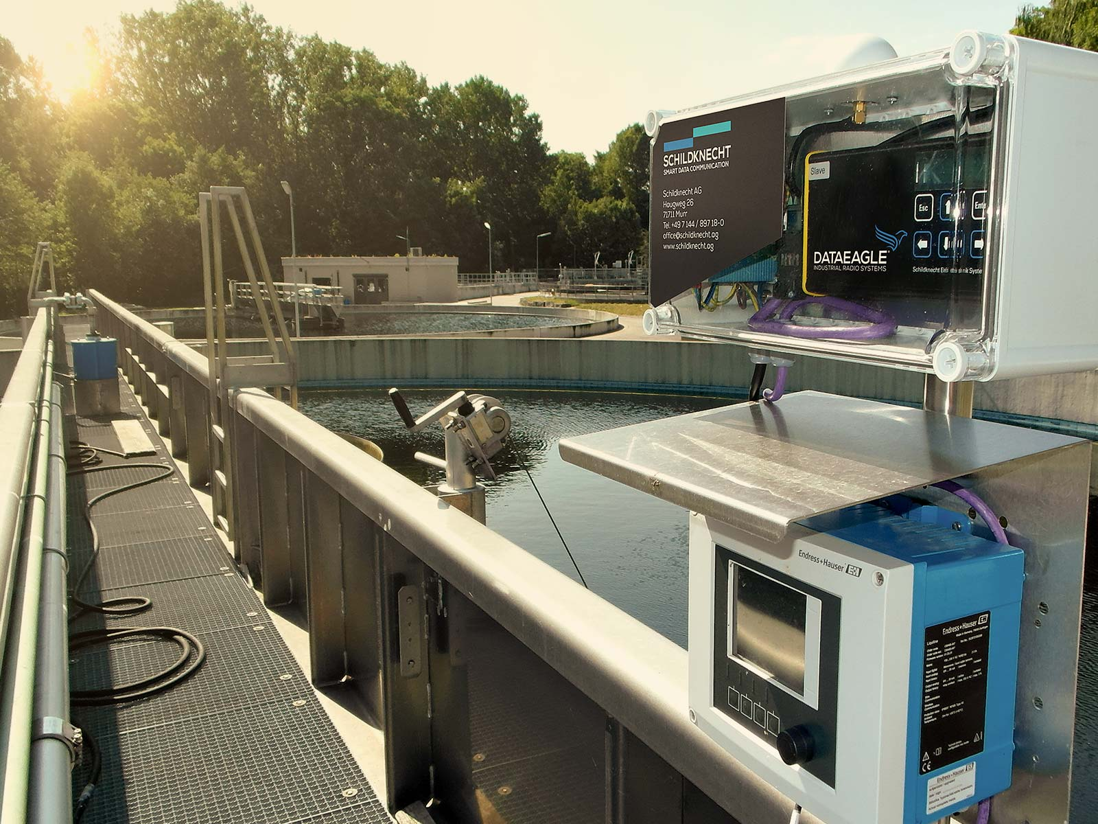 Radio data transmission in wastewater treatment plants