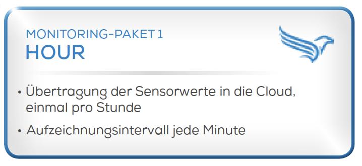 Condition Monitoring System - Paket 1 -Übertragung der Sensorwerte in die Cloud, einmal pro Stunde. -Aufzeichnungsintervalle jede Minute
