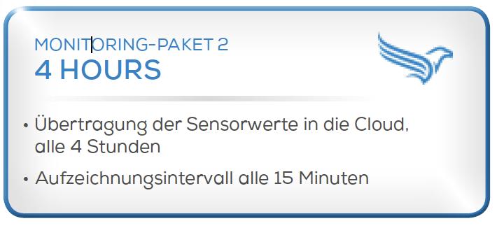 Condition Monitoring System - Paket 2 -Übertragung der Sensorwerte in die Cloud, alle 4 Stunden. -Aufzeichnungsintervalle alle 15 Minuten.