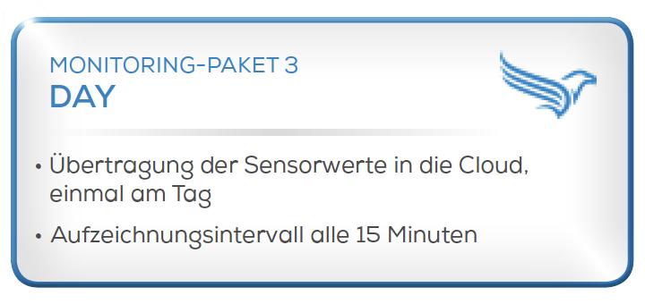 Condition Monitoring System - Paket 3 -Übertragung der Sensorwerte in die Cloud, einmal am Tag. -Aufzeichnungsintervalle alle 15 Minuten.