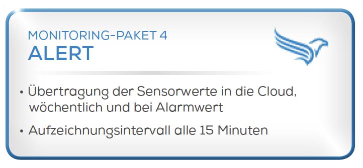 Condition Monitoring System Paket 4 -Übertragung der Sensorwerte in die Cloud, wöchentlich und bei Alarmwert -Aufzeichnungsintervalle alle 15 Minuten.
