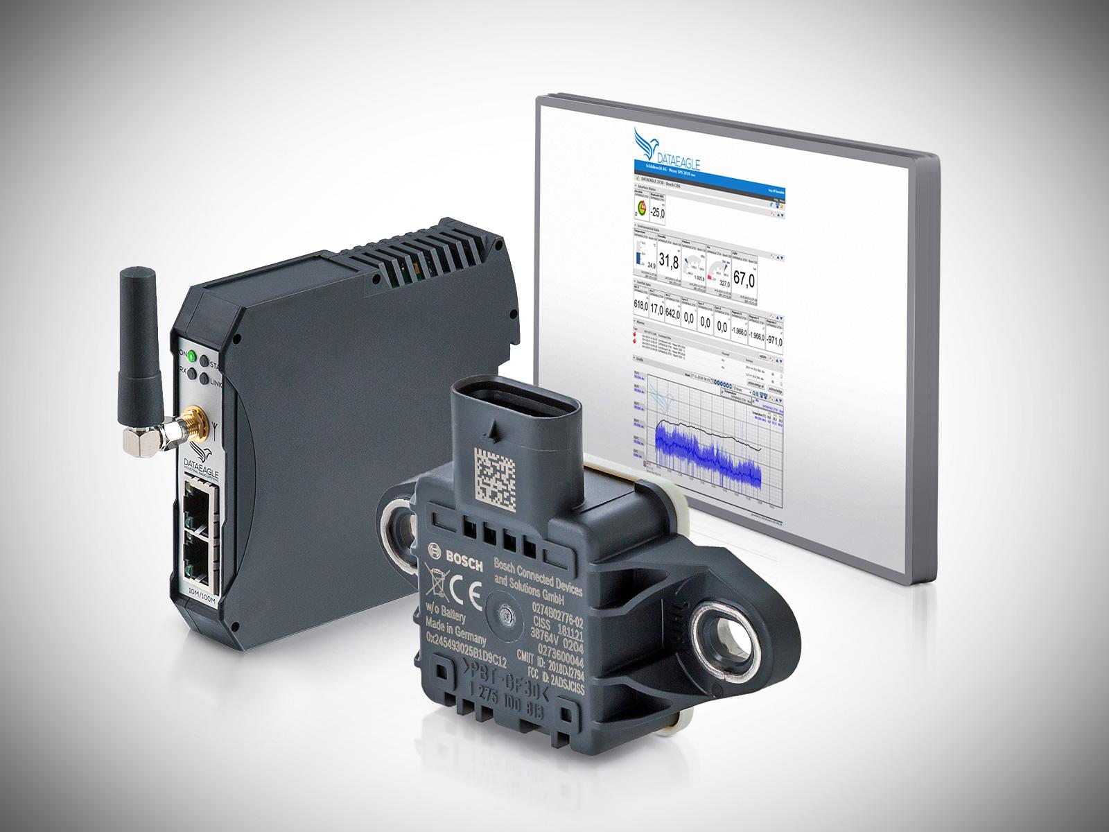 Condition Monitoring System - IoT Datenfunkmodem, Bosch Multisensor und DATAEAGLE Portal für die Fernüberwachung von Motoren und Maschinen